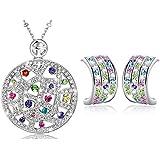 Regalo San Valentín-MARENJA Cristal-Conjunto de Collar y Pendientes Mujer Medallon Chapado en Oro Blanco Cristal Colorido Regalos Mujer