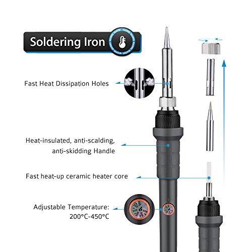 Soldador Electrónico, Pictek 60W 220V Kit de Soldadura Electrónica, 200°C-450°C Temperatura Ajustable, 5 Accesorios para Trabajo de Reparación