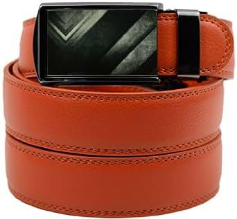 SlideBelts Boy's Leather Ratchet Belt (Burnt Orange Leather with Industrial V Buckle)