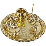 SHIV SHAKTI ARTS Handmade Pure Brass Pooja Thali Set 7 Pcs(1 Pooja Thali , 1 Ghanti , 2 Roli Chawal Katori , 1...
