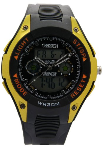 Ohsen Black Rubber Band With Yellow Case Dual Time Waterproof Watches