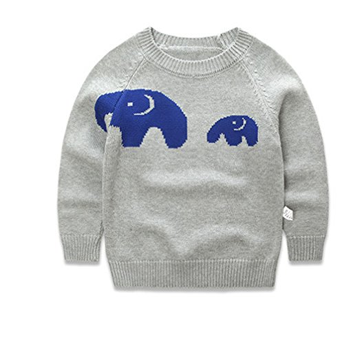 XMY Childrens Kids bambini Boys Girls Cute Elephant Warm Top Jumper Sweater Maglione Pullover 2-7Y Size 100 Colour Blue COLOR NEW