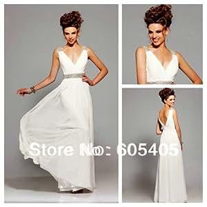 Amazon.com : Vestido De Noiva White Chiffon Junior Prom Dresses 2015