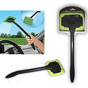 2 Pack Auto Glass Cleaner! Windshield Clean Car Glass Cleaner Wiper Handle Wand Microfiber Cloth! Best Outside and Interior Car Window Cleaner! 100% Money Back Guarantee! from iElegance