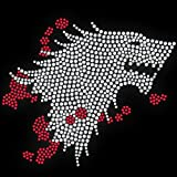Game Of Thrones Inspired Dire Wolf Diamante Transfer Iron On Hotfix Gem Crystal T-Shirt Motif