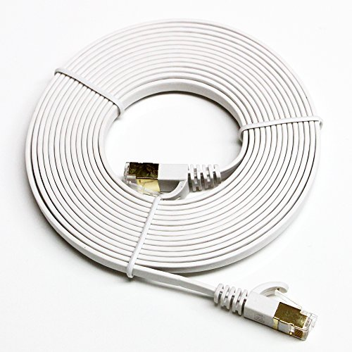 Tera Grand - CAT7 10 Gigabit Ethernet Ultra Flat Patch Cable for Modem Router LAN Network Playstation Xbox - Built with Gold Plated & Shielded RJ45