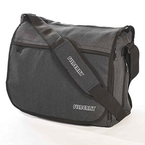 Messenger DIAPER BAG - Designed for DADS & MOMS to share baby care! - Top zipper for easy access - Large - Grey/Black