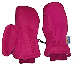 N\'Ice Caps Kids Easy On Thinsulate Waterproof Velcro Wrap Mitten (8-10 Years, Fuchsia Solid)