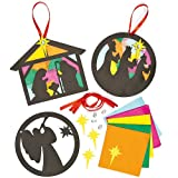 Nativity Stained Glass Effect Decorations (Pack of 6)