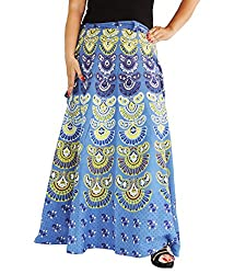 Aura Life Style Women Printed Cotton Long Wrap Around Skirt (ALSK5036W, Blue, Free Size)