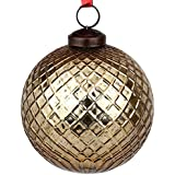 EarthenMetal Handcrafted Golden Coloured Christmas Decoratives / Glass Hanging Ball-5inch
