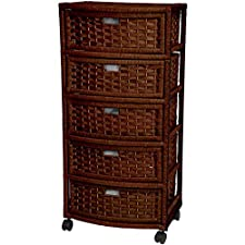 37 in Natural Fiber Chest of Drawers - Mocha