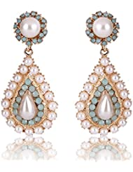 Cinderella Collection By Shining Diva Golden & White Crystal Stylish Fancy Party Wear Drop Earrings For Girls...