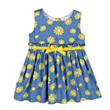 BOBORA Girls Dress Yellow Sunflower Print Sundress Party (S/18M, Sunflower)