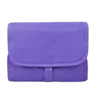 Multi Purpose Outdoor Waterproof Nylon Button-up Detachable Large Capacity Toiletry Bag Travel Camping Wash Bag Cosmetic Bag Case Travel Accessory Organizer Pouch Bag with Multiple Zipper Pockets (Purple)
