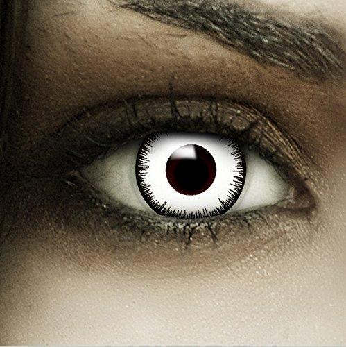 """Lenti a contatto colorate """"Vampiro"""" + capsule di sangue finto + portalenti per FXCONTACTS bianche, morbide, non corrette, in confezione da due: comode da indossare e ideali per Halloween o Carnevale"""