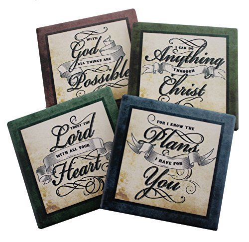 Inspirational scriptures coaster set of 4 encouraging verses to inspirational scriptures coaster set of 4 encouraging verses negle Images