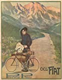Vintage Cycling FIAT CYCLES AND PIRELLI TYRES, ITALY 1909 250gsm ART CARD Gloss A3 Reproduction Poster