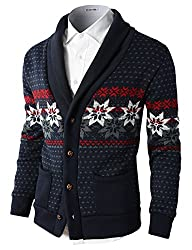 H2H Mens Casual Nordic Patterned Knited Shawl Collar Cardigan NAVY US S/Asia M (KMOCAL0105)