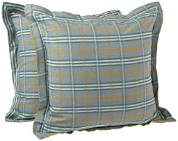 Tululah Designs 18-Inch by 18-Inch Glasgow Plaid Cushion Cover, Coach Blue, Set of 2