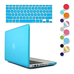 JBonest Matte Hard Shell Case Cover with Silicone Keyboard Cover Skin Stickers Protectorfor Macbook Pro 13.3 Inch Regular display Aluminum Unibody Model A1278 Light Blue