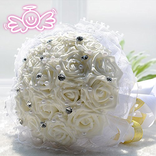 Hestian 18pcs Rose with Rhinestone,pearls Chains Stain Ribbon Handle Bridal Wedding Bouquet Silk Rose Hand Tie (white)