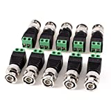 IHOMEGUARD 10 Pack BNC Male Video Connectors with Screw-lock Terminal for Coaxing CAT5 CAT6 to CCTV Cameras