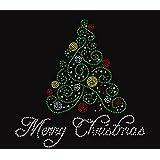 Christmas Merry Tree Rhinestone Iron on T Shirt Design