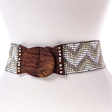 Chevron Beaded Stretch Belt