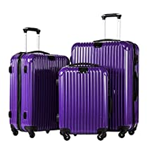 Coolife Luggage 3 Piece Set PC+ABS Suitcase with TSA Lock 20 inch 24 inch 28 inch