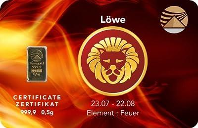 Goldbarren 0,5 g 0,5g Gramm Feingold 999.9 Nadir Gold LBMA Sternzeichen Löwe