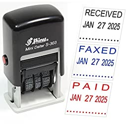 Shiny S-303 Self-Inking Rubber Date Stamp - PAID, FAXED, RECEIVED, SCANNED or any Custom Message - Customize Message and Color Online