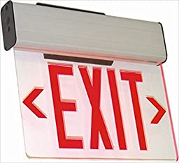 Westgate XE-2RCW-EM LED Edgelit Exit Sign,Red On Clear Panel - White Housing