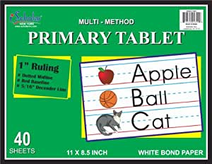 iScholar Multi-Method Primary Tablet, First Grade, 1 Inch Ruling, 40 Sheets, 11 x 8.5 Inches (11801)