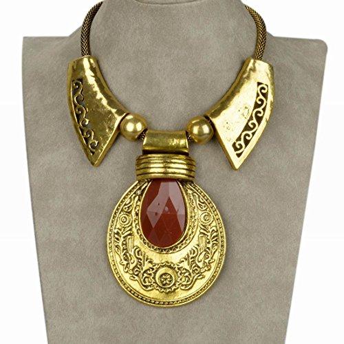 Less-Like-Vintage-Lucite-Carved-Teardrop-Bib-Collar-Statement-Necklace-Pendant