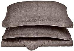 Impressions 100% Cotton, Soft, 3-Piece Full/Queen Corrington Quilt Set, Charcoal