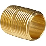 """Anderson Metals Brass Pipe Fitting, Close Nipple, 3/4"""" NPT Male, 1-3/8"""" Length"""