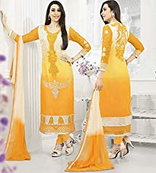 Stunning Shaded Cream and Yellow Semi Stitched Suit Material
