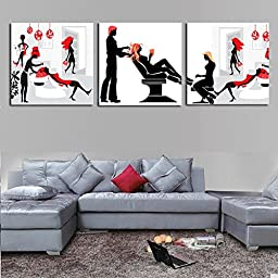 Modern Wall Art Home Decoration Printed Oil Painting Pictures No Frame Canvas Prints 3 Panel Salon Encounter For Living Room No Frame