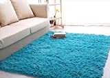 ROEWELL® Super Soft 4.5 cm Thick Modern Shag Area Rugs Living Room Carpet Bedroom Rug for Children's Play Rug Floor Rug Nursery Rug 4 Feet by 5 Feet(Blue) thumbnail