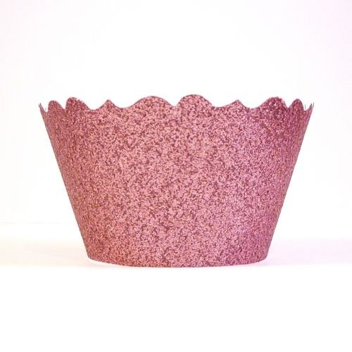 Bella Cupcake Couture 633131980240 Glitter Cupcake Wrappers, Princess Pink, Set Of 12 front-372321