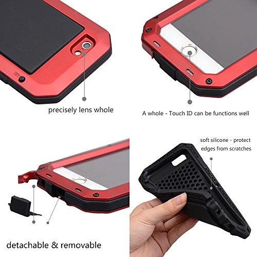 iPhone6/6s plus 5.5インチ用ケース 液晶保護強化ガラスフィルム付き 生活防水/防塵/耐衝撃 アウトドア スポーツ ケース アイフォン6 プラス 対応, レッド