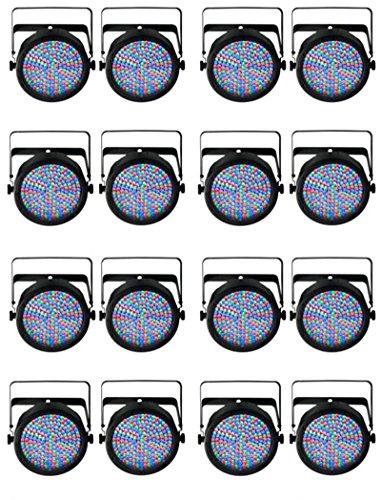(16) Chauvet Slimpar 64 Led Dmx Slim Par Can Stage Pro Dj Rgb Lighting Effects