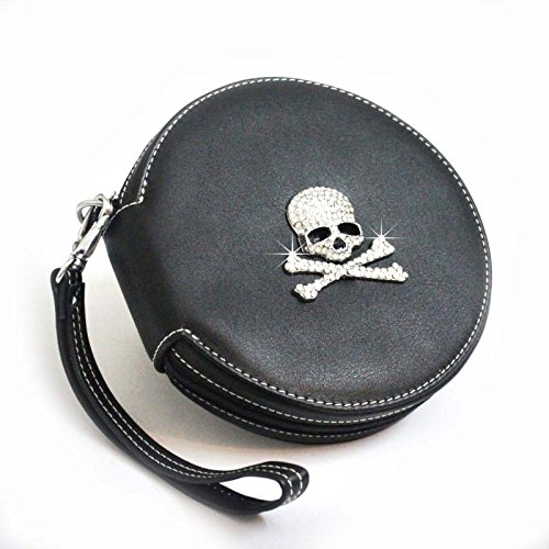 COOL&BRIGHT 2014 Cool Rhinestone Diamond Skull LeatherAuto Car CD DVD Storage Round Case Bag Holder