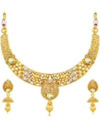 Sukkhi Brilliant Jalebi Gold Plated Collar Necklace Set For Women