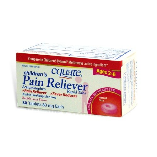 Equate, Children's Pain Reliever, Bubblegum Flavor, Ages 2-6, 30 Tablets, Meltaways Acetaminophen