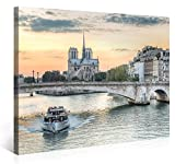 NOTRE-DAME DE PARIS TOURISTS - Premium Canvas Art Print - 40x30 inch Large Paris Cityscape Wall Art Deco - Canvas Picture Stretched on Wooden Frame as Modern Gallery Artwork / e4224