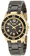 XOXO Womens XO2001 Black Ceramic and Gold-Tone Watch with