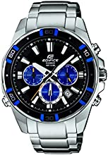 Casio Edifice Men's Quartz Watch with Black Dial Analogue Display and Silver Stainless Steel Bracelet EFR-534D-1A2VEF