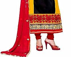 DKS Designers Women's Cotton Unstitched Dress Material (MBT05_Black_Free Size)